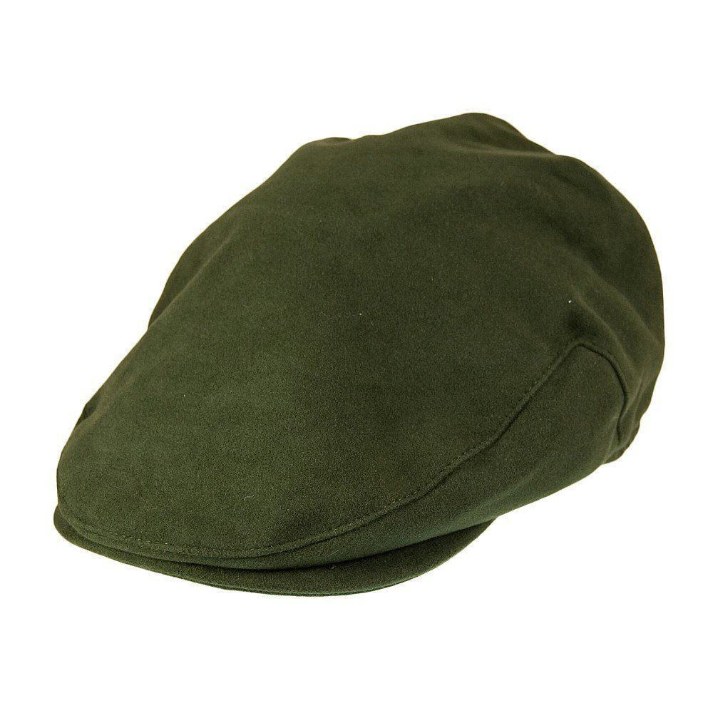 Waterproof Moleskin Flat Cap Traditional Country Hat Olive